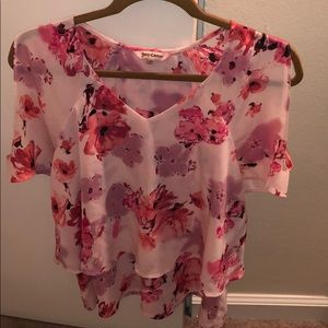 Juicy Couture Pink Floral Cold Shoulder Blouse